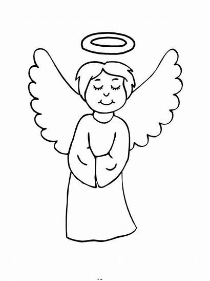Angel Coloring Pages Christmas Drawing Angels Easy