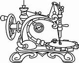 Sewing Machine Embroidery Steampunk Coloring Drawing Patterns Urban Paper Threads Tattoo Stitch Outline Featherweight Singer Awesome Unique Machines Adult Adults sketch template