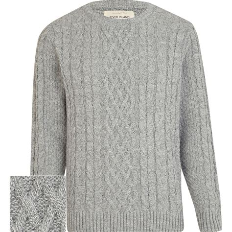 light grey sweater river island light grey twist chunky cable knit sweater in