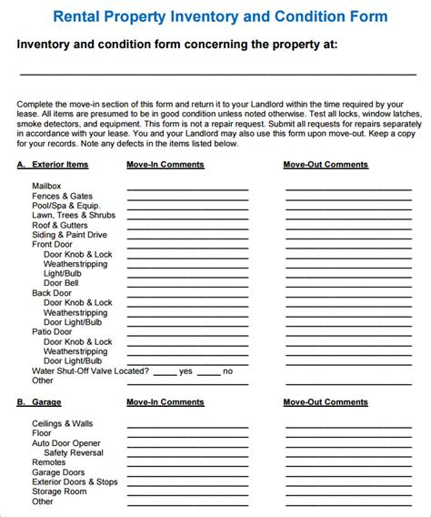 Inventory For Rental Property Template by Sle Rental Inventory Template 18 Free Excel Pdf
