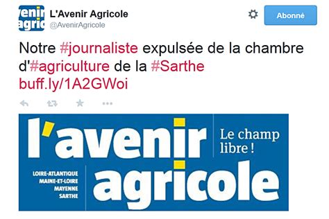chambre agriculture sarthe une journaliste chassée d 39 une chambre d 39 agriculture