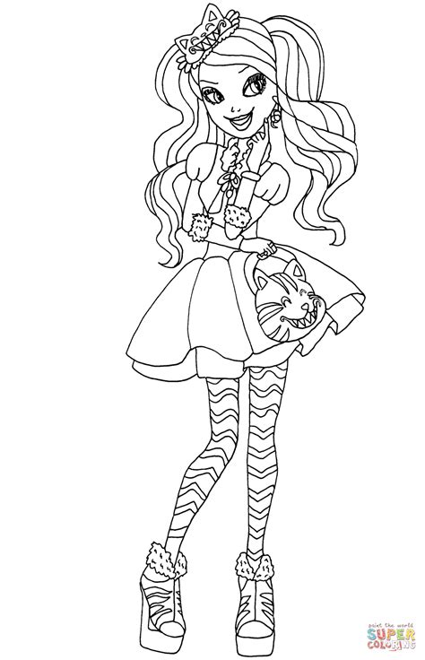 high kitty cheshire coloring page
