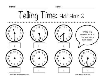 telling time half hour worksheets 1st 3rd grade by in the