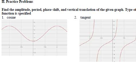 graphing sine cosine  phase shifts worksheet