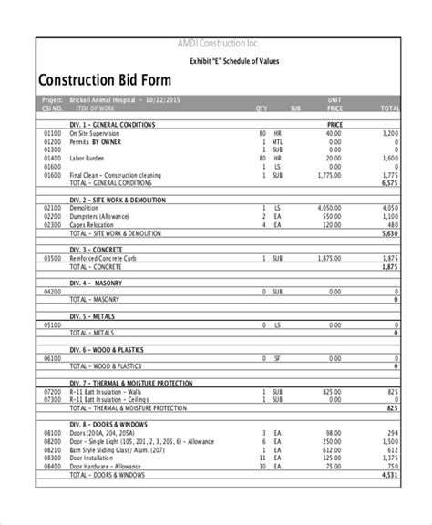 Contractors Bid Template by Sle Construction Form 21 Free Documents In Word Pdf