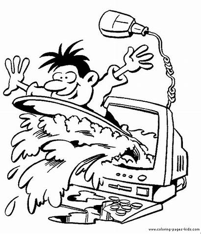 Computer Coloring Pages Printable Sheets Computers Jobs