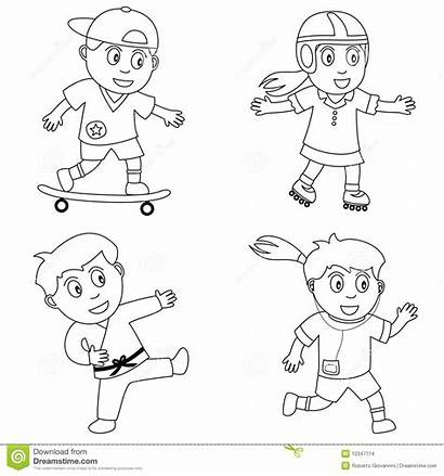 Coloring Sport Sports Playing Clip Kid Clipart