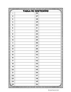 interactive notebook table  contents page freebie