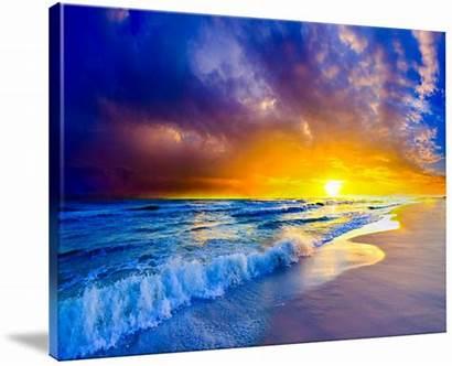 Canvas Ocean Sunset Purple Beach Orange Prints