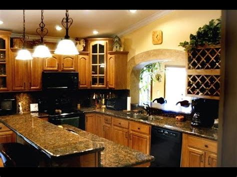 honey oak kitchen cabinets  granite countertops youtube