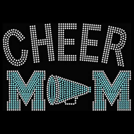 cheer mom megaphone hotfix rhinestone transfer