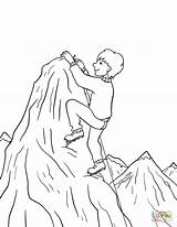 Coloring Climbing Mountain Boy Pages Printable Summit Drawing Paper Through sketch template