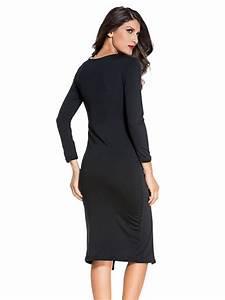 Bed Sheet Sizes Chart Black Long Sleeve Midi Dress E6740 2 Cilory Com