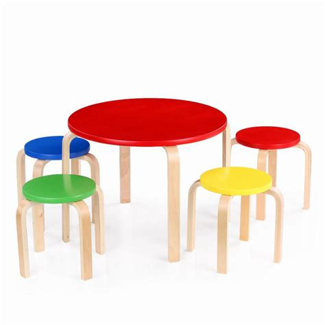 solid wood activity table ikayaa cute solid wood round kids table and 4 chairs set