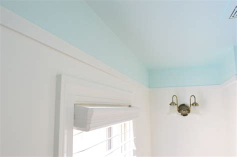adding color  trim   bathroom ceiling young house love