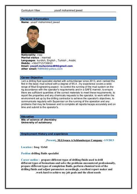 International Curriculum Vitae Resume Format by Yousif Mohammed Cv International