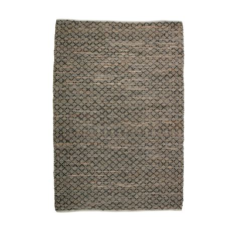 tapis contemporain en jute et cuir twined drawer