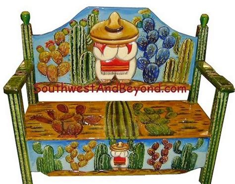 carved painted mexican benches
