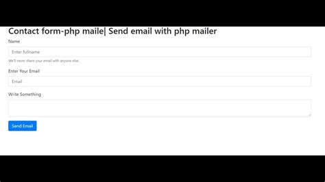 how to make a contact form using phpmailer send email with