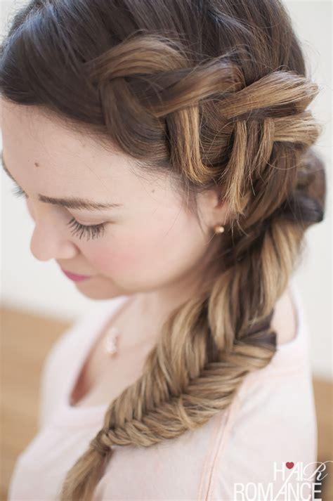braid hair clip hair combo fishtail side braid tutorial