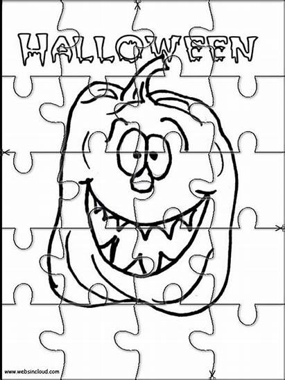 Halloween Puzzles Printable Coloring Jigsaw Pages Para