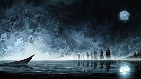 Dragon Wallpaper Hd 1080p 1920x1080 Dark Fantasy People Boat Reflection 1080p Full Hd Wallpapers
