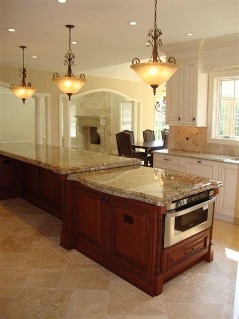 two level kitchen island large 2 level island kitchen traditional kitchen 6428
