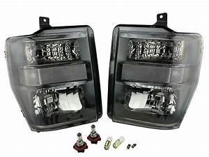 Black Harley Style Headlights For 2008 2009 2010 Ford F