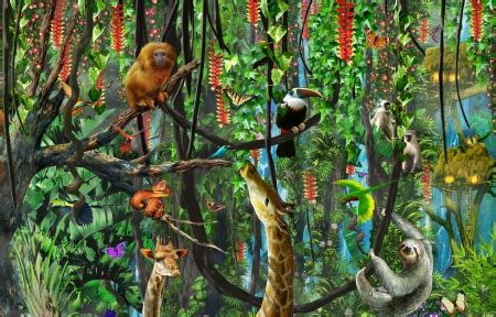 jungle animals fantasy abstract background wallpapers