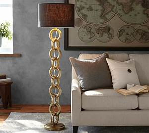 interlaced gold chain floor lamp base pottery barn With wooden floor lamp pottery barn