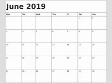 2019 Monthly Calendar Printable Templates January to