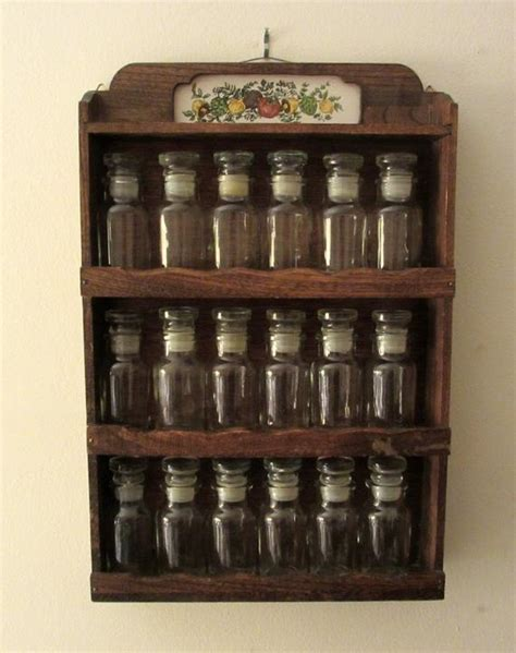 Vintage Wood Spice Rack by Vintage Wall Hung Wooden Spice Rack With 18 Apothecary Style