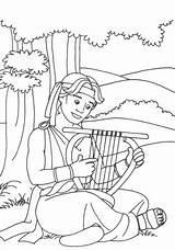 David Coloring Bible King Crafts Harp Samuel Sunday Goliath Preschool Playing Mephibosheth Stories Saul Craft Lessons Colorear Anointed Biblia Church sketch template