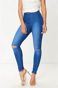 Michelle Ripped Knee High Waisted Jeans at misspap.co.uk