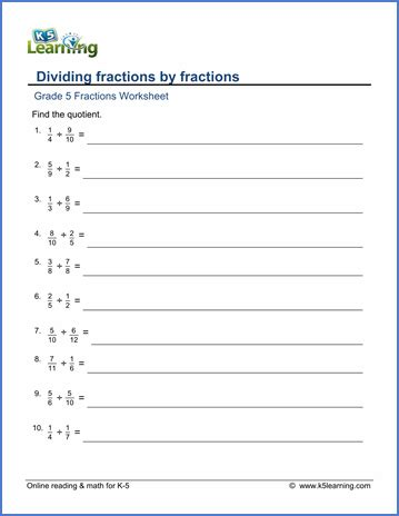 grade 5 math worksheets dividing fractions by fractions k5 learning