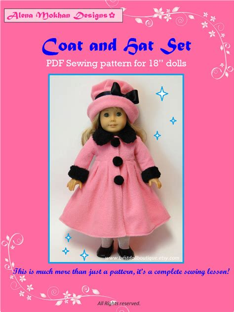 doll clothes  sewing pattern doll coat  hat