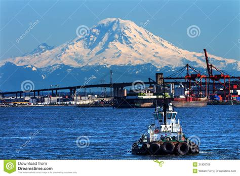Boat Prices Seattle by Tug Boat Seattle Port With Cranes And Boats Bridge