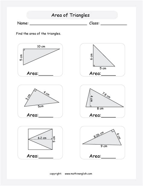 find the area of triangles using the are formula 1 2 b h