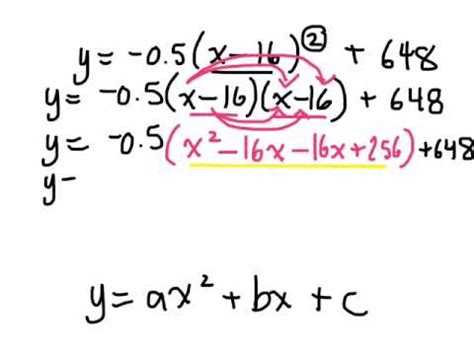 converting quadratic relations from vertex form to standard form 5 5 gr 10 academic 11 20