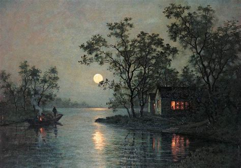 river landscape at moon with canoe