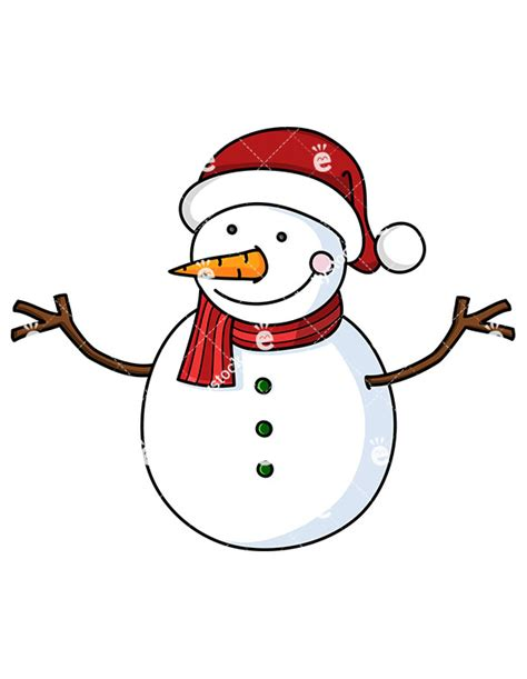 smiling snowman wearing santa hat cartoon vector clipart