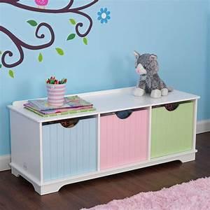 Banc Avec Rangement : banc de rangement en bois avec tiroirs pastels ~ Melissatoandfro.com Idées de Décoration