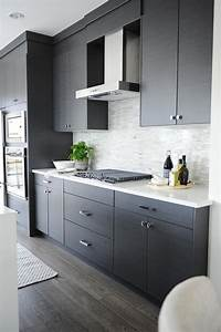 Dark Gray Flat Front Kitchen Cabinets With Gray Mosaic Tile Backsplash Modern Kitchen