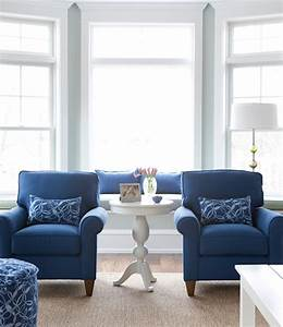 Ocean blue living room maine cottage for Blue living room chairs