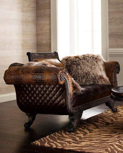 How To Clean Leather Settee by Hickory Tannery Shaggy Leather Settee In 2019