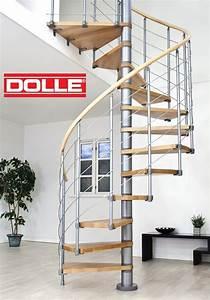 Escalier hélicoïdal en acier et hêtre Dolle Oslo gris Ø 140 cm