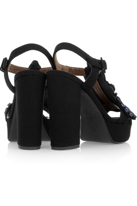 kaos adidas shoes kaos sport adidas shoes lyst marni embellished crepe covered platform sandals in