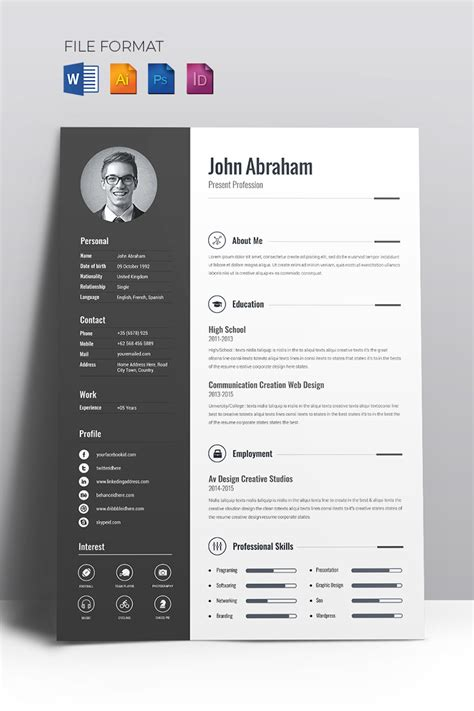 Creative Resume Templates by Minimal Creative Cv Resume Template 67714