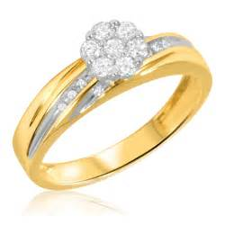 gold wedding band womens 1 4 carat t w 39 engagement ring 10k yellow gold my trio rings bt519y10ke