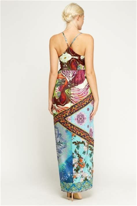 maxi zoo siege social mixed print maxi dress just 5